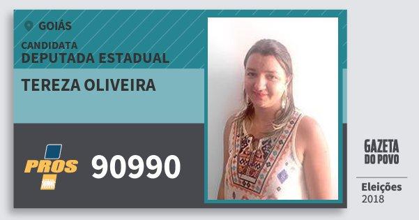 Santinho Tereza Oliveira 90990 (PROS) Deputada Estadual | Goiás | Eleições 2018
