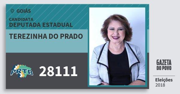 Santinho Terezinha do Prado 28111 (PRTB) Deputada Estadual | Goiás | Eleições 2018