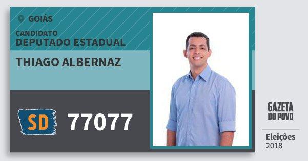 Santinho Thiago Albernaz 77077 (SOLIDARIEDADE) Deputado Estadual | Goiás | Eleições 2018