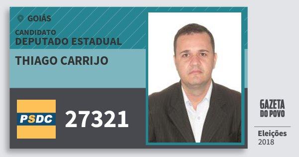 Santinho Thiago Carrijo 27321 (DC) Deputado Estadual | Goiás | Eleições 2018