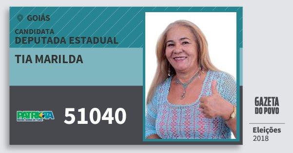 Santinho Tia Marilda 51040 (PATRI) Deputada Estadual | Goiás | Eleições 2018