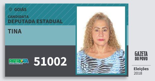 Santinho Tina 51002 (PATRI) Deputada Estadual | Goiás | Eleições 2018