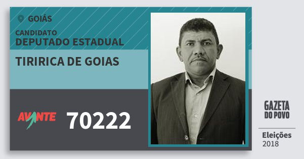 Santinho Tiririca de Goias 70222 (AVANTE) Deputado Estadual | Goiás | Eleições 2018
