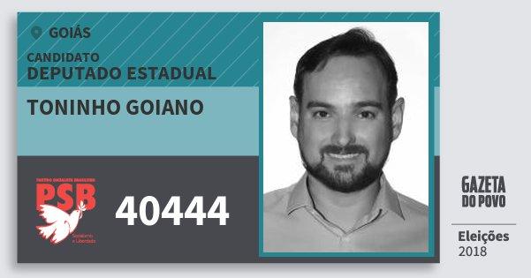 Santinho Toninho Goiano 40444 (PSB) Deputado Estadual | Goiás | Eleições 2018