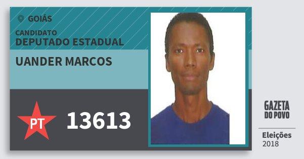 Santinho Uander Marcos 13613 (PT) Deputado Estadual | Goiás | Eleições 2018