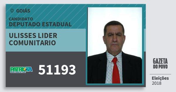 Santinho Ulisses Lider Comunitario 51193 (PATRI) Deputado Estadual | Goiás | Eleições 2018