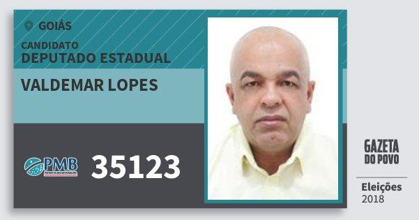 Santinho Valdemar Lopes 35123 (PMB) Deputado Estadual | Goiás | Eleições 2018