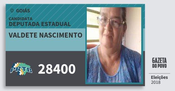 Santinho Valdete Nascimento 28400 (PRTB) Deputada Estadual | Goiás | Eleições 2018