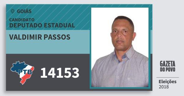 Santinho Valdimir Passos 14153 (PTB) Deputado Estadual | Goiás | Eleições 2018