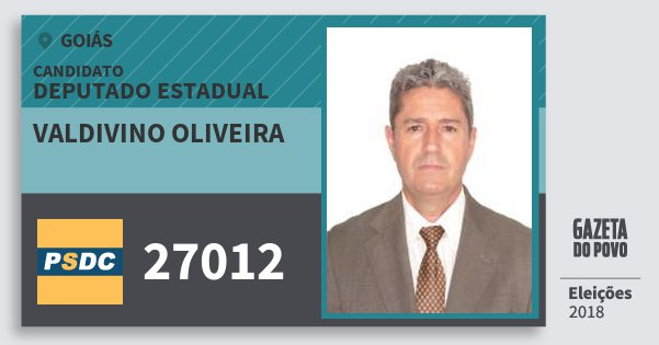 Santinho Valdivino Oliveira 27012 (DC) Deputado Estadual | Goiás | Eleições 2018