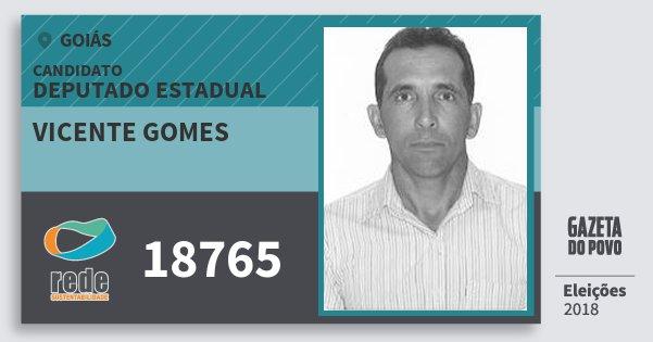 Santinho Vicente Gomes 18765 (REDE) Deputado Estadual | Goiás | Eleições 2018