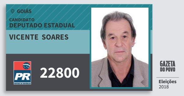 Santinho Vicente  Soares 22800 (PR) Deputado Estadual | Goiás | Eleições 2018