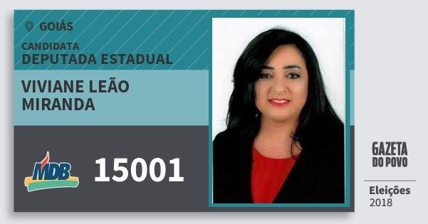 Santinho Viviane Leão Miranda 15001 (MDB) Deputada Estadual | Goiás | Eleições 2018