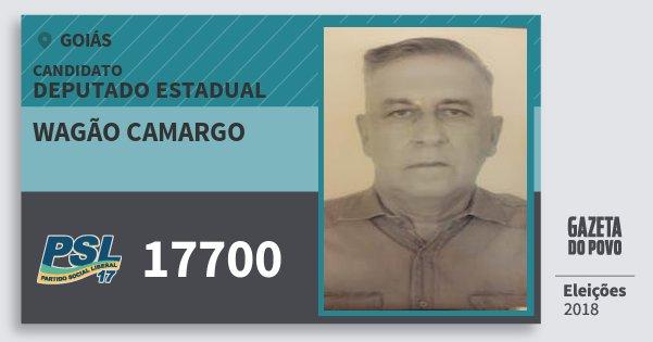 Santinho Wagão Camargo 17700 (PSL) Deputado Estadual | Goiás | Eleições 2018