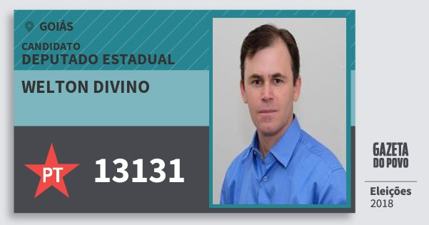 Santinho Welton Divino 13131 (PT) Deputado Estadual | Goiás | Eleições 2018