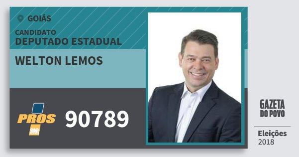 Santinho Welton Lemos 90789 (PROS) Deputado Estadual | Goiás | Eleições 2018