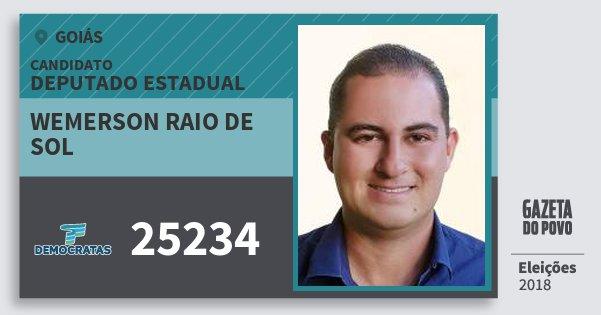 Santinho Wemerson Raio de Sol 25234 (DEM) Deputado Estadual | Goiás | Eleições 2018