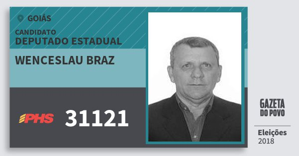 Santinho Wenceslau Braz 31121 (PHS) Deputado Estadual | Goiás | Eleições 2018