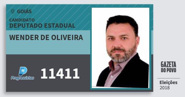 Santinho Wender de Oliveira 11411 (PP) Deputado Estadual | Goiás | Eleições 2018
