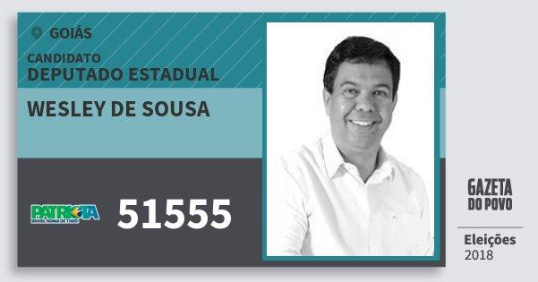 Santinho Wesley de Sousa 51555 (PATRI) Deputado Estadual | Goiás | Eleições 2018