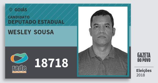 Santinho Wesley  Sousa 18718 (REDE) Deputado Estadual | Goiás | Eleições 2018