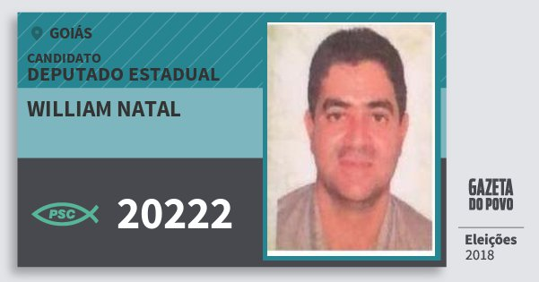 Santinho William Natal 20222 (PSC) Deputado Estadual | Goiás | Eleições 2018
