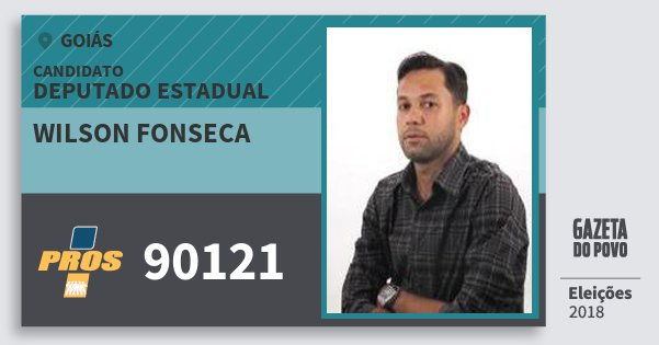 Santinho Wilson Fonseca 90121 (PROS) Deputado Estadual | Goiás | Eleições 2018