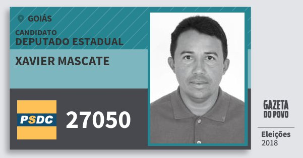 Santinho Xavier Mascate 27050 (DC) Deputado Estadual | Goiás | Eleições 2018