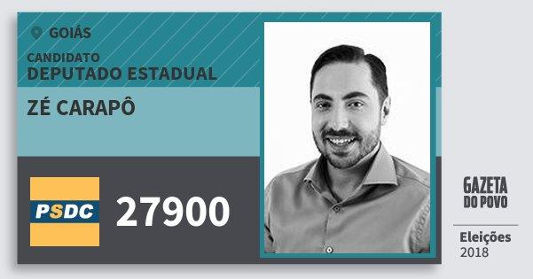 Santinho Zé Carapô 27900 (DC) Deputado Estadual | Goiás | Eleições 2018