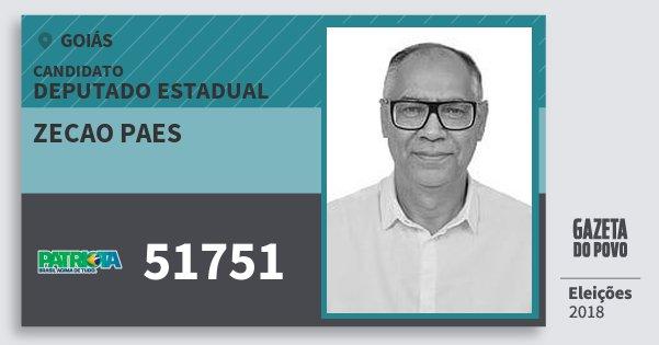Santinho Zecao Paes 51751 (PATRI) Deputado Estadual | Goiás | Eleições 2018