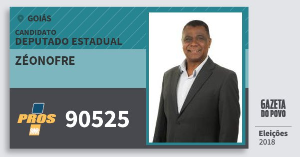 Santinho Zéonofre 90525 (PROS) Deputado Estadual | Goiás | Eleições 2018