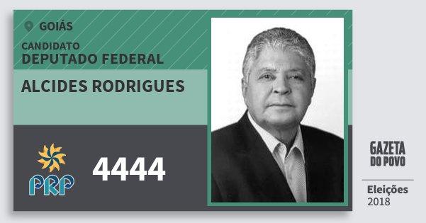 Santinho Alcides Rodrigues 4444 (PRP) Deputado Federal | Goiás | Eleições 2018