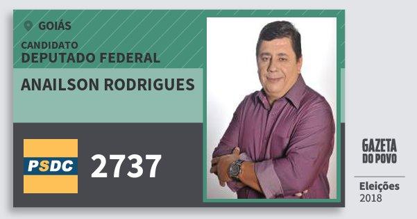 Santinho Anailson Rodrigues 2737 (DC) Deputado Federal | Goiás | Eleições 2018