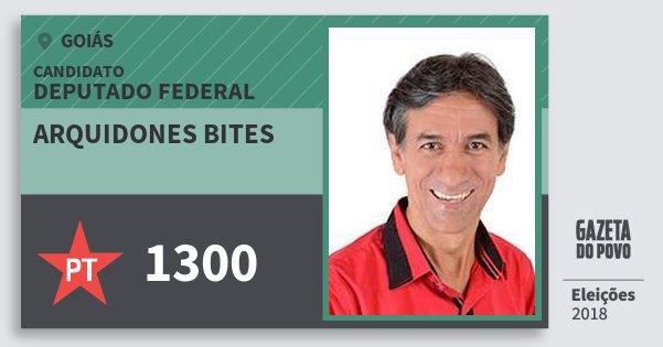 Santinho Arquidones Bites 1300 (PT) Deputado Federal | Goiás | Eleições 2018