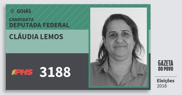 Santinho Cláudia Lemos 3188 (PHS) Deputada Federal | Goiás | Eleições 2018