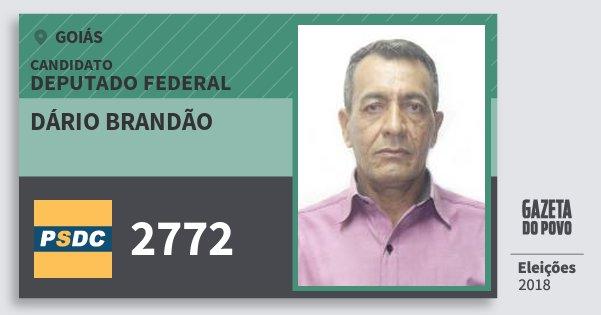 Santinho Dário Brandão 2772 (DC) Deputado Federal | Goiás | Eleições 2018