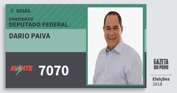 Santinho Dario Paiva 7070 (AVANTE) Deputado Federal   Goiás   Eleições 2018