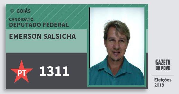 Santinho Emerson Salsicha 1311 (PT) Deputado Federal | Goiás | Eleições 2018
