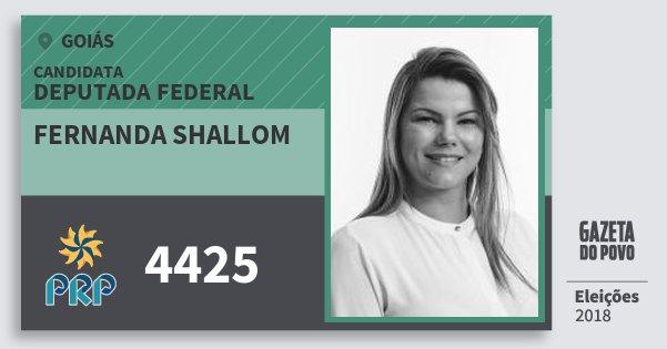 Santinho Fernanda Shallom 4425 (PRP) Deputada Federal | Goiás | Eleições 2018