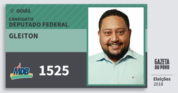 Santinho Gleiton 1525 (MDB) Deputado Federal | Goiás | Eleições 2018