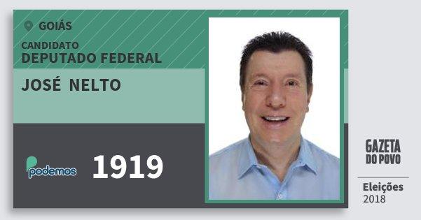 Santinho José  Nelto 1919 (PODE) Deputado Federal | Goiás | Eleições 2018