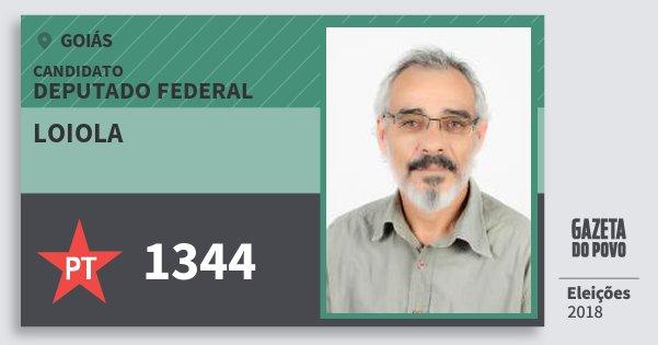 Santinho Loiola 1344 (PT) Deputado Federal | Goiás | Eleições 2018