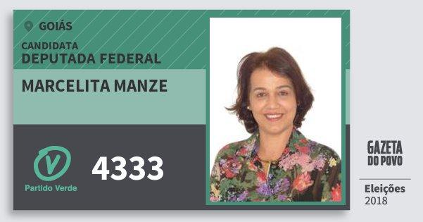 Santinho Marcelita Manze 4333 (PV) Deputada Federal | Goiás | Eleições 2018