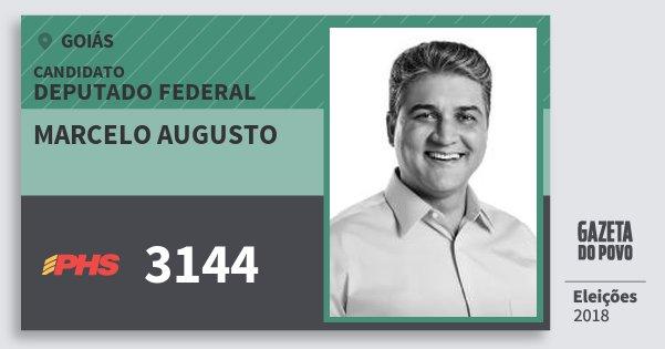 Santinho Marcelo Augusto 3144 (PHS) Deputado Federal | Goiás | Eleições 2018