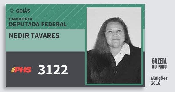 Santinho Nedir Tavares 3122 (PHS) Deputada Federal | Goiás | Eleições 2018