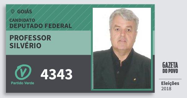 Santinho Professor Silvério 4343 (PV) Deputado Federal | Goiás | Eleições 2018