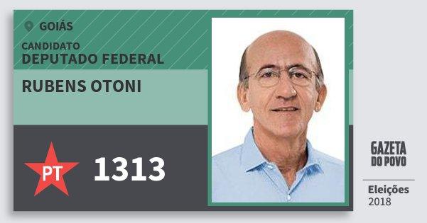 Santinho Rubens Otoni 1313 (PT) Deputado Federal | Goiás | Eleições 2018