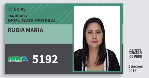 Santinho Rubia Maria 5192 (PATRI) Deputada Federal | Goiás | Eleições 2018