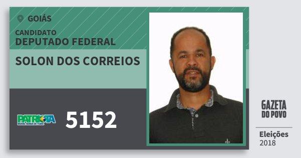 Santinho Solon dos Correios 5152 (PATRI) Deputado Federal   Goiás   Eleições 2018