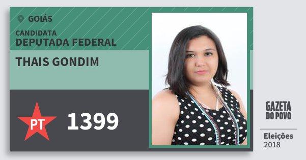 Santinho Thais Gondim 1399 (PT) Deputada Federal | Goiás | Eleições 2018